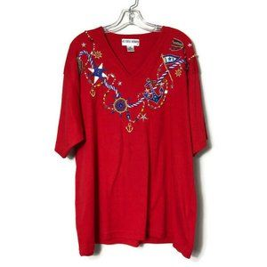 Victoria Woman Nautical Beaded Embellished Shirt